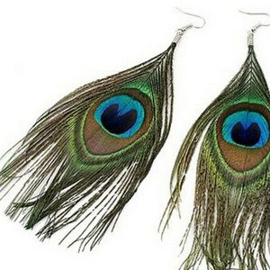 Assorted Color Peacock Natural Feather Earrings
